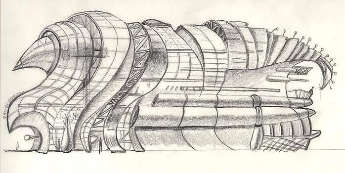 Concept Sketch of 'Armadillo' Modern Architecture Shopping Center by Charles and Stacey Matthews
