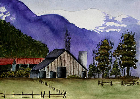Concrete Barn Watercolor by Mary Gaines