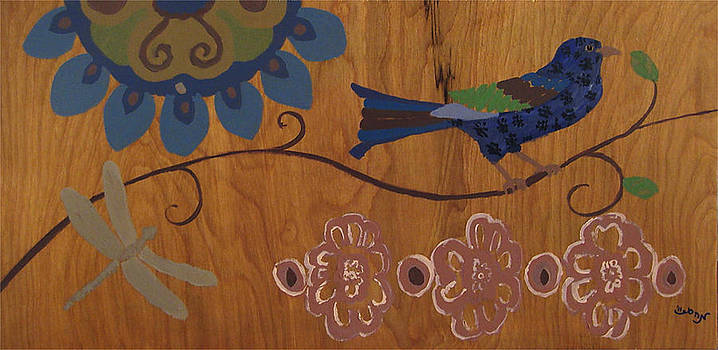 Contemporary Whimsical Bird on a Wire in Pastel-Like Colors with Flowers and Dragonfly by M Zimmerman