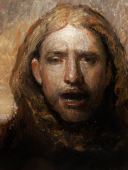 Copy of an Odd Nerdrum head man with a bird by Derek Van Derven