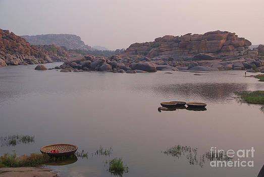 Coracles on the Tungabhadra River by Serena Bowles