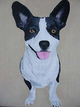 Corgi Pet Portrait Original Oil Painting 8 x 10 in Wrapped Canvas by Pigatopia by Shannon Ivins