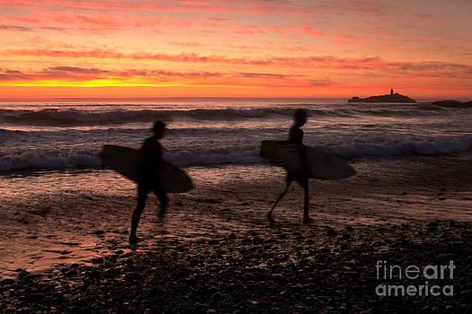 Cornish Surfers At Sunset by David Smith