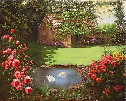 Country Cottage by a Pond by Jeanene Stein