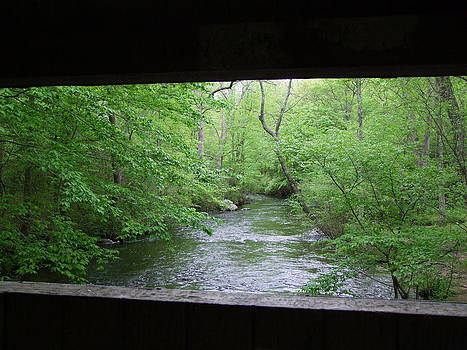 Angela Hansen - covered bridge and fishing stream