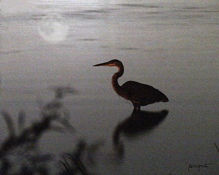 Crane with Moon by Lawrence P Kaster