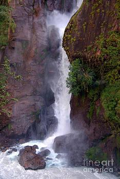Crashing Waterfall into Marsyangdi River by Serena Bowles