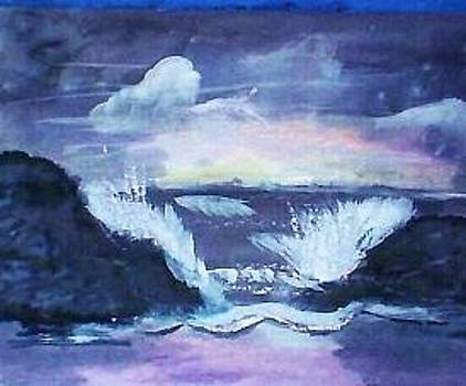 Crashing waves stormy seas dark by Anna Lewis