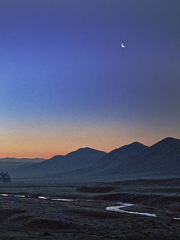 Crescent Moon and Yokohl Creek by Wayne Powell