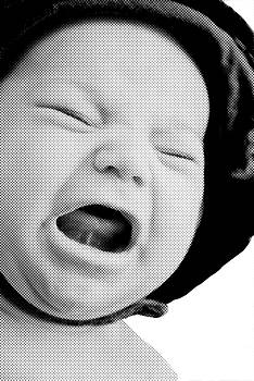 Crying Baby in Halftone Black and White by Susan Leggett