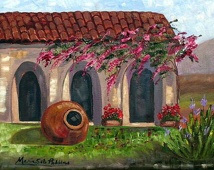 Cuban Courtyard with Tinajon and Bougainvillea by Maria Soto Robbins