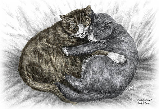 Kelli Swan - Cuddly Cats - Color Tinted Art Print