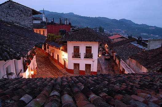 Cuetzalan Mexico early morning rooftops by George Olney