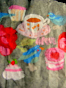 Cupcakes birds flowers on tea bag by Amy Bradley