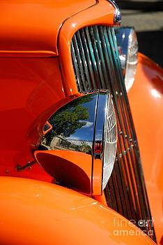 Custom Ford motor car abstract in bright orange by John Kelly
