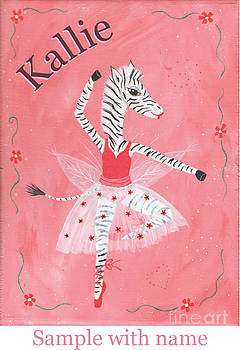 Custom Name Child's Zebra Ballerina by Kristi L Randall