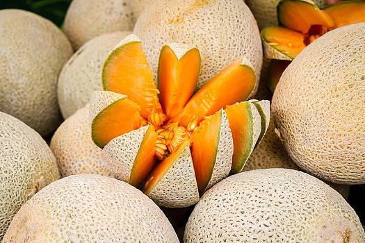 Cut Cantaloupe by Dina Calvarese