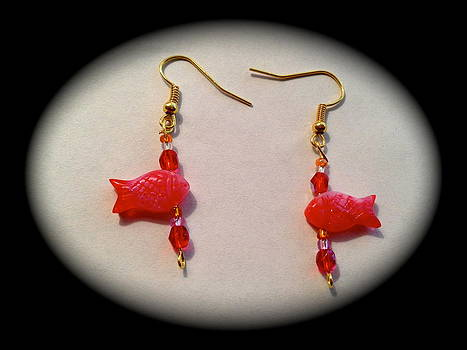 Cute red fishes earrings by Pretchill Smith
