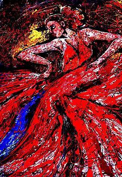 Dancer in red by Artist Singh