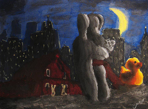 Dancing Figures with Barn Duck and Cityscape under the moonlight.  by M Zimmerman