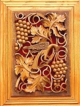Decorative Panel - Vine Leaves With Bird by Goran