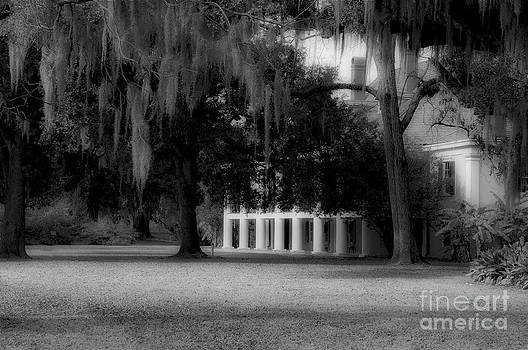 Destrehan Plantation in black and white by Kathleen K Parker