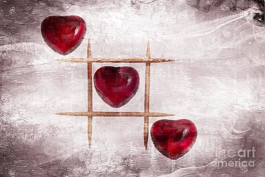Digital art of three glass hearts in a tic tac toe pattern by Linda Matlow