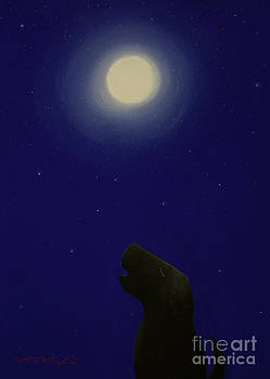 Dog Howling at The Moon by Chris Mackie