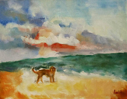 Dog On The Beach by Susan Hanlon