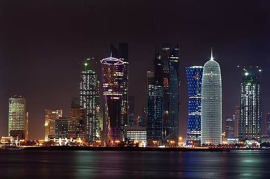 Doha by Night by Abraham PuthOor