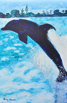 Dolphin at Play by Mickey Krause