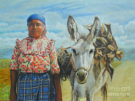 Dona Maria and her donkey by Judith Zur