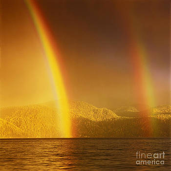 Double Rainbow over Teletskoye lake  by Elena Filatova