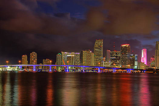 Downtown Miami at Night by Claudia Domenig