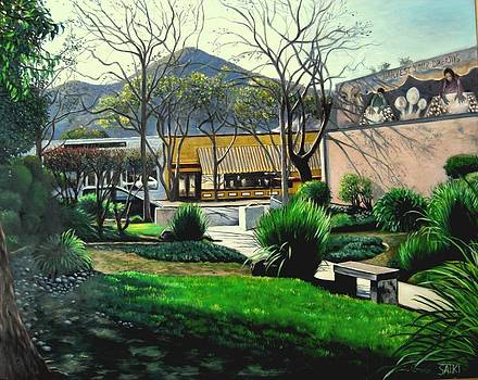 Downtown Morgan Hill with Mural by Lorna Saiki
