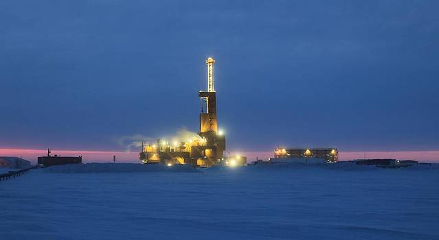 Doyon Oil Rig 25 Sunrise Alaska by Sam Amato