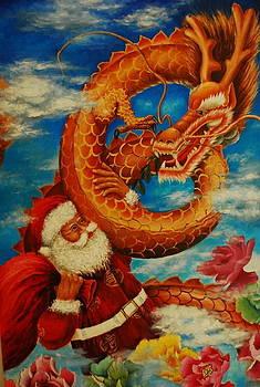 Dragon and Santa Claus by Angela