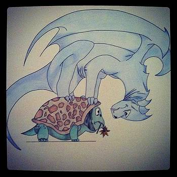 Dragon Playing With A Turtle by Kristina Parker