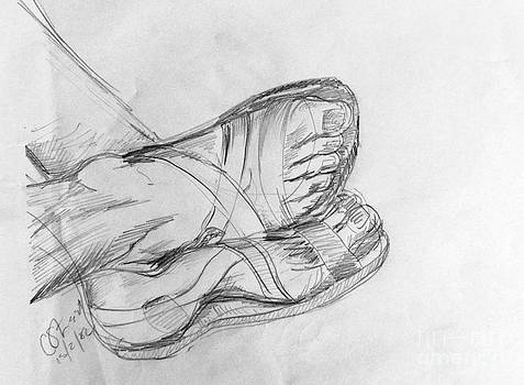Caroline Street - Drawing Class. Sandaled Feet