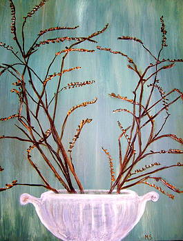 Dried Branches In White Urn by Melynnda Smith