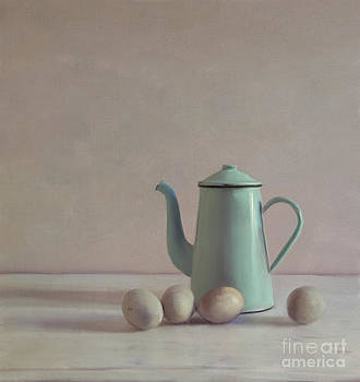 Duck Eggs And Coffee Pot by Paul Grand