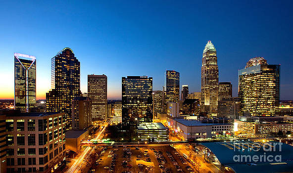 Dusk view of downtown Charlotte NC by Patrick Schneider