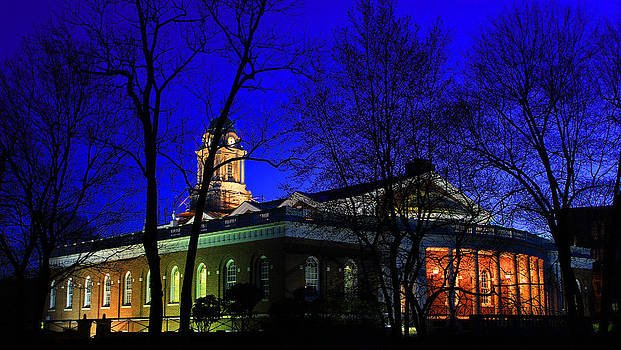 Early Spring Night - Milford Town Hall by Cathy Leite Photography