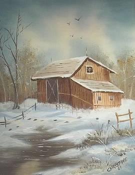 Early Winter Barn Scene by Christine Krantz