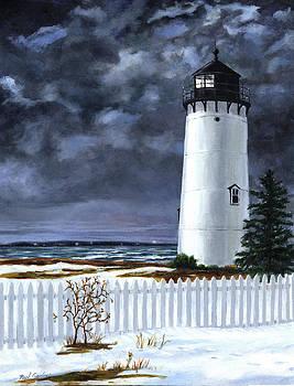 East Chop Light Winter by Paul Gardner