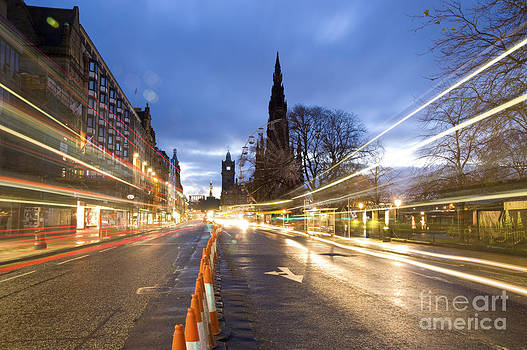Edinburgh Princess Street Night Trails by Donald Davis