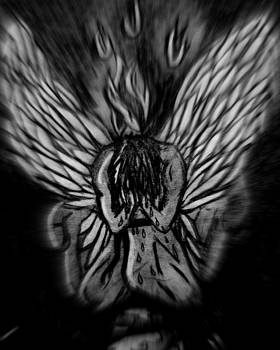 El Angel Black and white by MikAn 'sArt