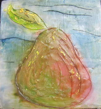 Encaustic Pear by Jenell Richards