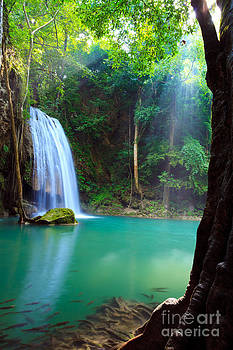 Erawan Waterfall in Kanchanaburi Thailand  by Noppakun Wiropart