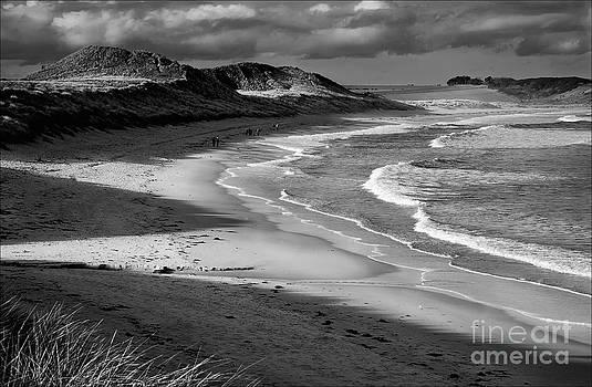 Evening Stroll Embleton Sands Mono by George Hodlin